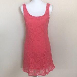 Papillon Pink Lace Zipper Back Dress